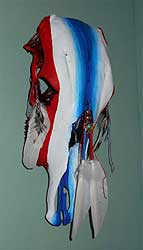 Red, White & Blue Cow Skull